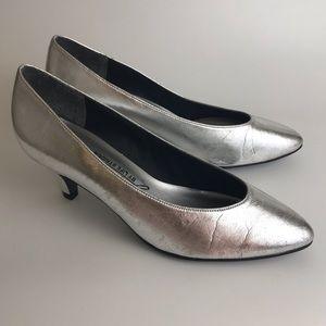 VTG 80s 90s Silver Heels Pumps LifE Stride Size 8